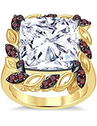 Silvernshine 6Ctw Cushion & Round Cut Red Garnet CZ Diamond 14K Yellow Gold Plated Engagement Ring