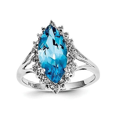 Sterling Diamant Rhodium Silber Licht Schweizer Topas Blau Ring