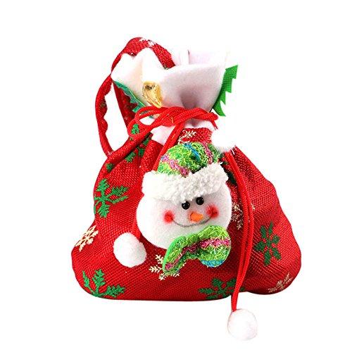 Fablcrew sacchettini per caramelle natalizie, in sacchetto con Babbo Natale e coulisse, sacchetto regalo per dolcetti, calza, borsetta, Tessuto, Red Snowman, M