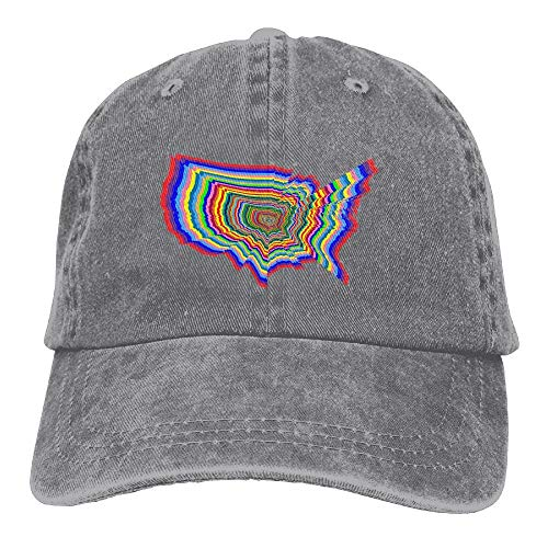 Prismatische Pack (Sdltkhy Erwachsene prismatische US-Karte Farben Washed Denim Baumwoll Baseballmütze Papa Hut einstellbar Marine Multicolor74)