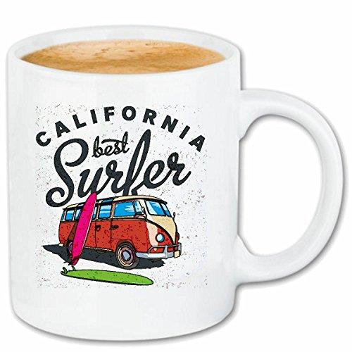 Reifen-Markt Kaffeetasse California Surfer Surfbrett Retro Bus USA Amerika VEREINIGTE Staaten VW...