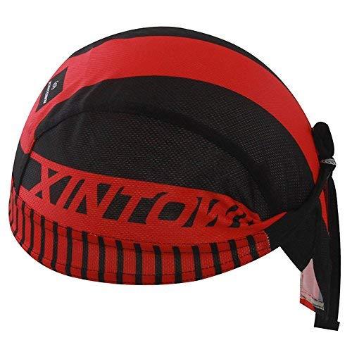 HYSENM Kopftuch Cap Erwachsen Atmungsaktiv Anti-UV für Radsport Motorrad Bandana, Rot+Schwarz -