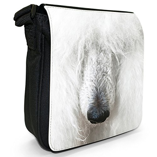 Pudel Caniche Barbone flauschiger Hund Kleine Schultertasche aus schwarzem Canvas Porträt von weißem Pudel