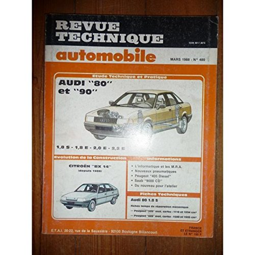 RTA0489 - REVUE TECHNIQUE AUTOMOBILE AUDI 80 et 90 1.8S - 1.8E - 2.0E - 2.2E