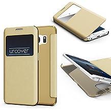 URCOVER® Samsung Galaxy S6 Edge Plus   Carcasa Protectora   Plastico + TPU en Champaña Oro   Funda con Ventana Flip Case Wallet Cover Estuche Smartphone