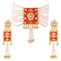 I Jewels Gold Plated Traditional Padmavati Pearl & Kundan Necklace with Earrings For Women (ML118O)