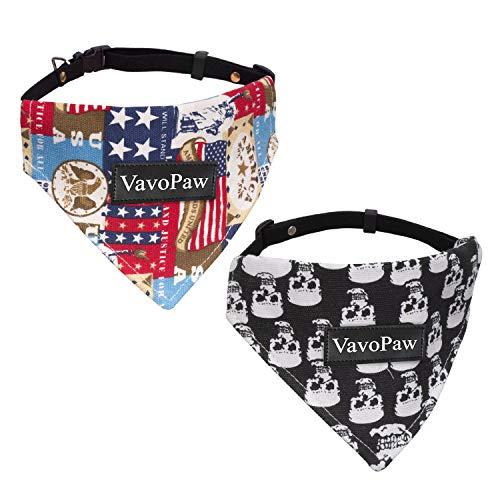 Vavopaw Hund Katze Bandana Kragen, 2 Stück Einstellbare Lätzchen Niedliches Halstuch Hund Katze Welpe Dreieck Schal Kragen, Mittlere Größe - Schädel & US-Flagge -