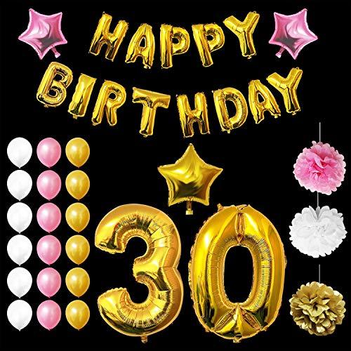 BELLE VOUS Luftballons Happy Birthday Banner Partyzubehör Set & Dekorationen - Alter 30 Folienballons Geburtstag - Gold, Rosa & Schwarz Latex - Ballon-Dekoration - Dekor für alle Erwachsenen geeignet