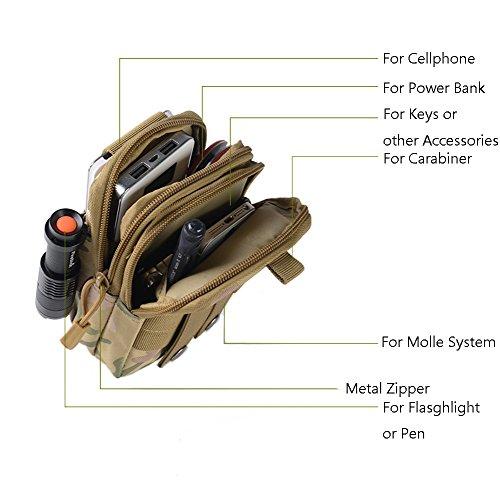Zeato Tactical sacchetto Edc Utility gadget per cintura porta marsupio con telefono cellulare iPhone 6/6Plus 7/7PLUS Samsung Galaxy S8S7S6LG HTC e più, Uomo, Black Desert Digital