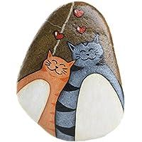 Sasso dipinto a mano da appendere con gatti
