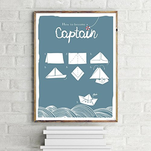 Close Up How to Become A Captain Motivation Poster/Kunstdruck Origami Design 30x40 cm - Premium Qualität 200g (Origami Boot)