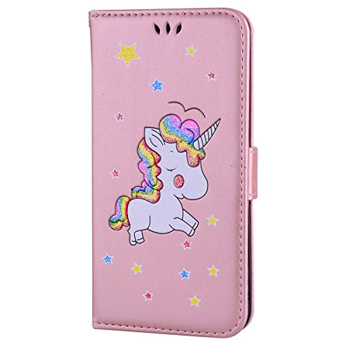 Cover iPhone 6,iPhone 6S Custodia,Mo-Beauty® Stampato Cute Unicorn Design Magnetico Snap-on Book Style Internamente Silicone TPU Case Protettiva PU Pelle Folio Flip Custodia per Apple iPhone 6/6S + 1  Oro rosa