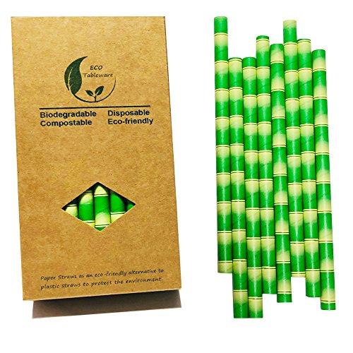 Extrabreite Strohhalme aus Bambuspapier für Smoothies, Milchshakes, 10 mm, 32 Stück -