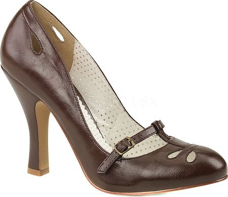 Pin Up Couture SMITTEN-20 D. Brown Faux Leather