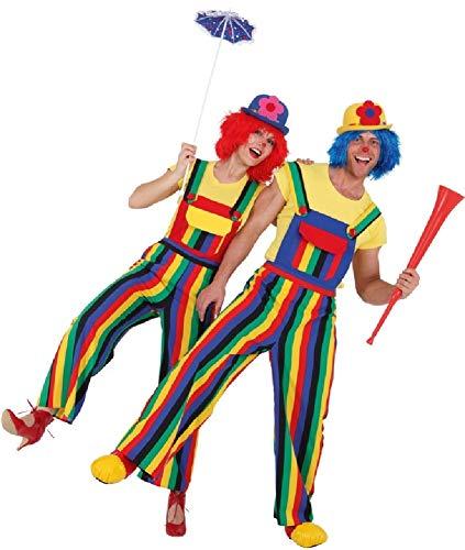 Fancy Me Pärchen Damen und Herren Crazy Bunte Regenbogen Clown Zirkus Karneval Stolz Feier EventParade Kostüm Kostüm Outfit Latzhose