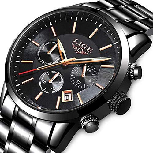 Lige Herrenuhren Mode wasserdicht Edelstahl Chronograph Deluxe Business Militär Analoge Quarzuhr Klassisches schwarzes Armband Datum Kalender Armbanduhr ...