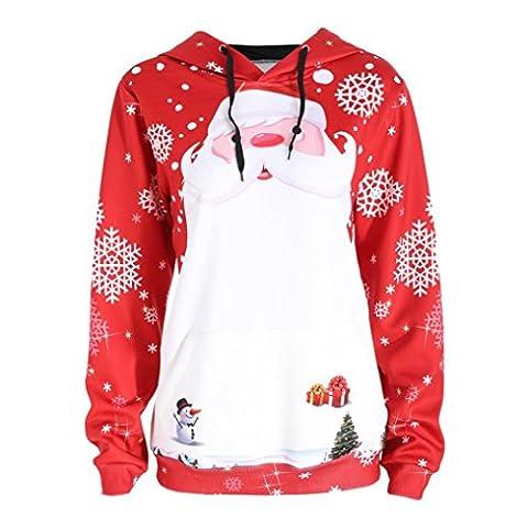 Tonwalk joyeux Noël Femmes père Noël Sweat à capuche (S, rouge)
