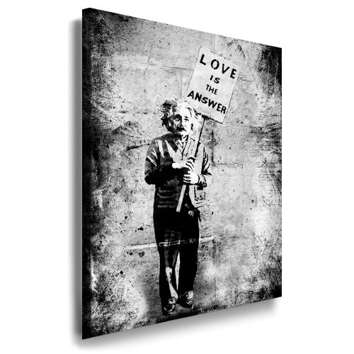 Leinwandbild Banksy Graffiti - Einstein Art Street Art Graffiti Dolk Leinwand Bild 101x71x2cm von artfacktory24 fertig auf Keilrahmen - Kunstdrucke, Leinwandbilder, Wandbilder, Poster, Gemälde, Pop Art Deko Kunst Bilder (Einstein-bild)