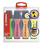 Premium-Textmarker - STABILO BOSS EXECUTIVE - 4er Pack - grün, pink, orange, gelb