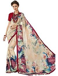 Vastrang Sarees Women's Crepe Saree With Blouse Piece (S10412268A_Multicolor)