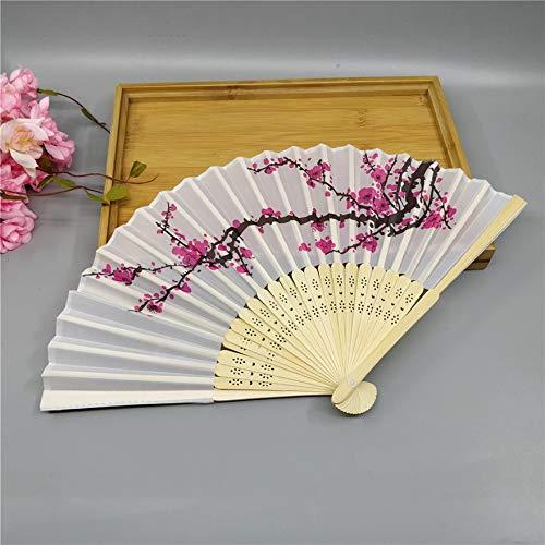 Bigherdez 1 Stück 21cm Faltfächer Zarte Rose Pfirsich Blume Pflaumenblüte Japanische Pflaumenblüte Design Seide Kostüm Party - Weiß