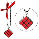 JOE COOL Halskette mit Anhänger Kette & Rubix Cube mit Polka Dot Schleife (rot Polka Dot Schleife) mit Kunstharz hergestellt