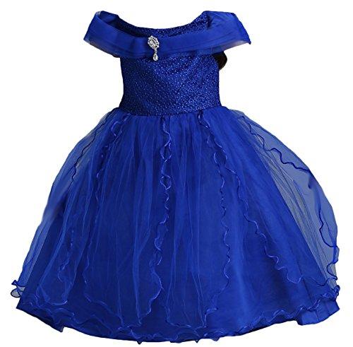 BaiXia Mädchen Blume formelle Partei Prinzessin Stickerei flauschige Kleid Königsblau 3 (Flauschige Blume-mädchen-kleider)