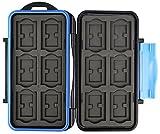 Flashwoife Turtle-SD12MSD24 spritzwasserdichte Speicherkarten Kartenbox Schutzbox, patentierte Aufnahme, 12 x SD Karte und 24 x Micro SD Cards Case Etui, Card Box, Karten Aufbewahrung, Tasche, schwarz