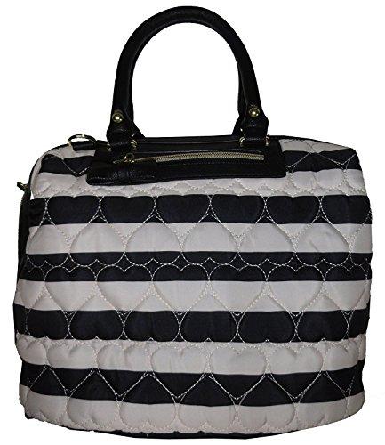 Betsey Johnson Women's Marshmellow Satchel Style Handbag, Black/White Stripe - Stripe Zip Satchel