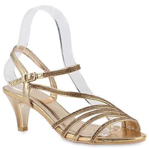 Damen Lack Sandaletten | Stiletto Sandalen Glitzer | Strass Schuhe Party Sommer | Riemchensandaletten Metallic T-Strap Gold Strass
