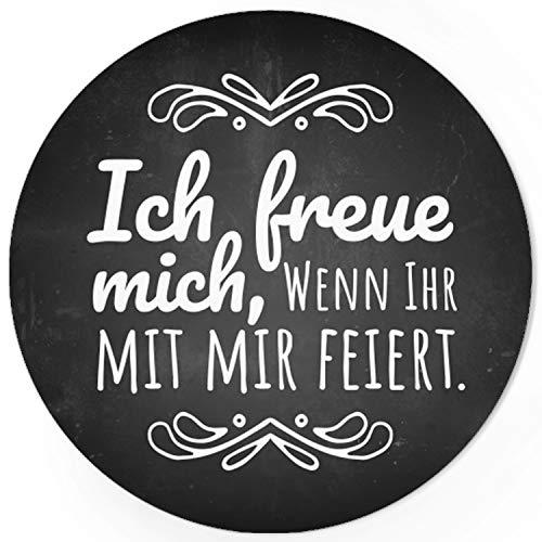 48 Design Etiketten, rund/Ich freue mich Motiv 2 / Hochzeit/Taufe/Geburtstag/Konfirmation/Aufkleber/Sticker/Einladung