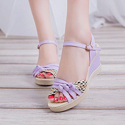 Khskx-fashion Femme Chaussures en relief Peau Talon Haut Poisson Bouche rosée fait Référence au à la mode et de belles Chaussures de femme Thirty-seven