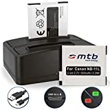 2 Batteries + Double Chargeur (USB NB-11L NB-11LH pour Ixus 125 HS, 240 HS, 265 HS.. Powershot A3500 IS, SX400 IS ..voir liste v. liste!