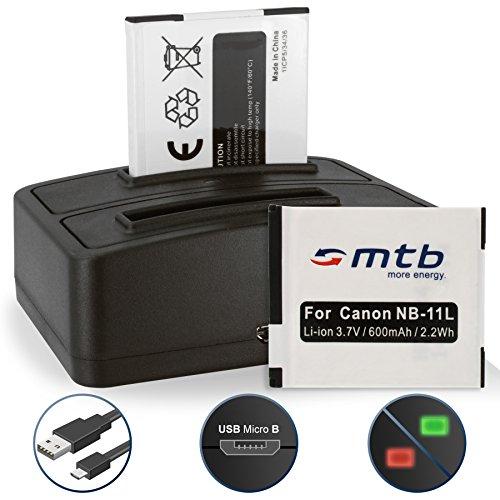 2 Baterías + Cargador Doble USB NB-11L NB-11LH Ixus