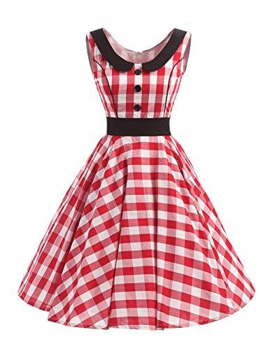 VKStar® Rétro Vintage Femme Robe Col Claudine Robe de Soirée à Pois/à Carreaux/Imprimée Rockabilly Robe Boutons Devant A-line Rouge-Blanc XXL