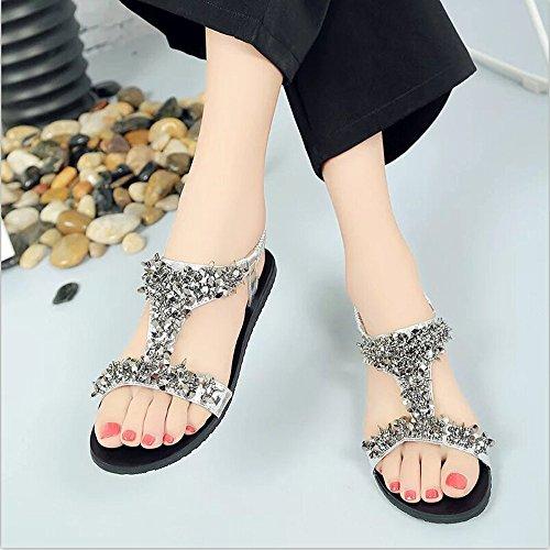 Hunpta Frauen Schuhe Sport Sandalen Sommer Flip Flops Mode flache Gladiator Silber
