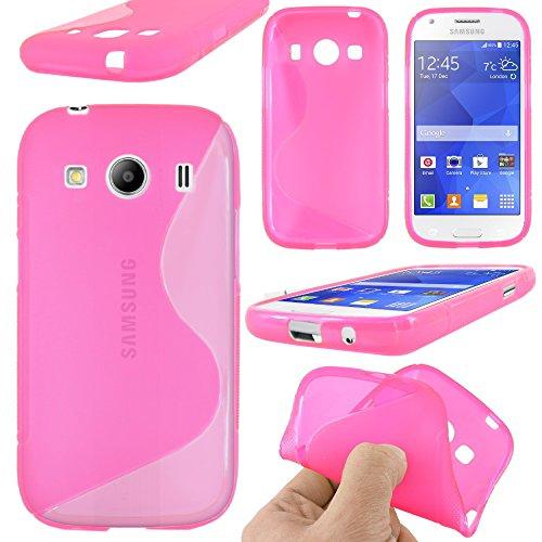 ebestStar - Compatibile Cover Samsung Ace 4 Galaxy SM-G357FZ Custodia Protezione S-Line Design Silicone Gel TPU Morbida e Sottile, Rosa [Apparecchio: 121.4 x 62.9 x 10.8mm, 4.0'']