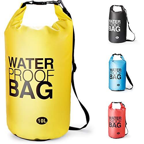 Bolsa Estanca Bolsa Seca Dry Bag Impermeable para Kayak Canotaje Pesca, Rafting Snowboarding Cámping Al Aire Libre - tamaño Opcional y Color garantizar frío-Clima confort-10L /20L (Amarillo, 10L)