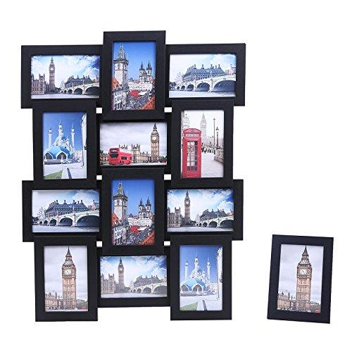 Songmics Bilderrahmen Collage für 12 Fotos + 1 x einzelner Fotorahmen aus MDF 10 x 15 cm schwarz RPF112H