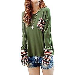 OverDose De manga larga de cuello redondo camisa a cuadros blusa floja Tops (L, Verde)
