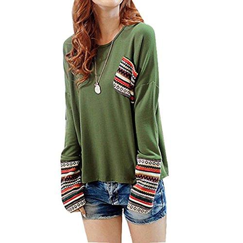 OverDose De manga larga de cuello redondo camisa a cuadros blusa floja Tops (XL, Verde)