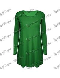 Be Jealous Nouvelles Femmes Manches Longues Décontracté Col Rond Uni Jersey Robe  Évasée Top 66987c9acdc8