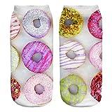 Ferocity Lustige Socken Sneaker Halbsocken Strümpfe Sportsocken Füßlinge mit Motiv 3D Donut Big Light [001]