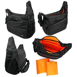 DURAGADGET Durable Shoulder 'Sling' Bag in Black & Orange for The AccuBuddy Buddy X 12x26