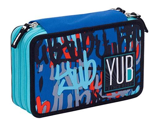 Astuccio 3 Zip YUB Graffiti, Blu, Attrezzato per la scuola: matite, penne...