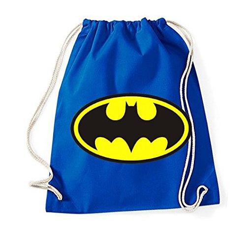 Youth designz algodón bolsa con diseño-Modelo Batman-Bolsa de deporte mochila bolsa yute Bolsa Hipster Fashion, color azul real, tamaño Talla única