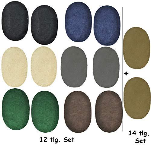 alles-meine.de GmbH 2 STK. Wildleder - echtes Leder - Flicken - dunkel grau - 10 cm * 15,5 cm - oval - zum Aufnähen Aufnäher / Applikation XL Format