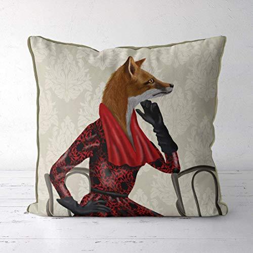 akingstore Fo Decor Fo Kissenhülle für Überwurfkissen - für Rote Schal - Fo Kissen Waldtiere als Geschenk für Ihr Kissen Oma Geschenk (16x28 Kissen Legen)