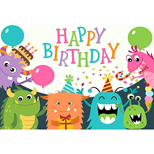 OERJU 2,2x1,5m Geburtstag Hintergrund Alles Gute zum Geburtstag Cartoon-Monster Band Ballon Geburtstagsparty Wanddekoration Hintergrund Kuchen zerschlagen Portraitfotografie (Kuchen Monster Geburtstag Hohen)