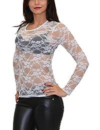 1cc7a39cccd8 ESRA Damen Bluse Shirt transparent Chiffon langarm Oberteil in vielen Farben  B11